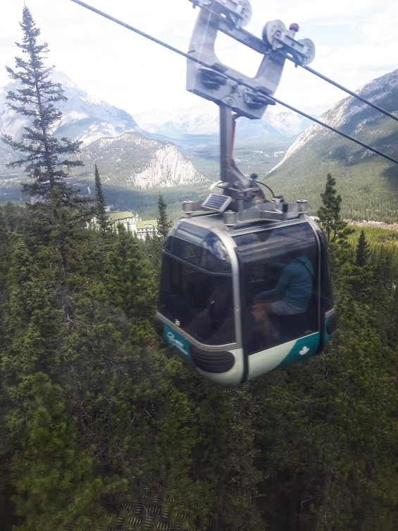 Gondola up Sulphur Mountain in Banff, Alberta